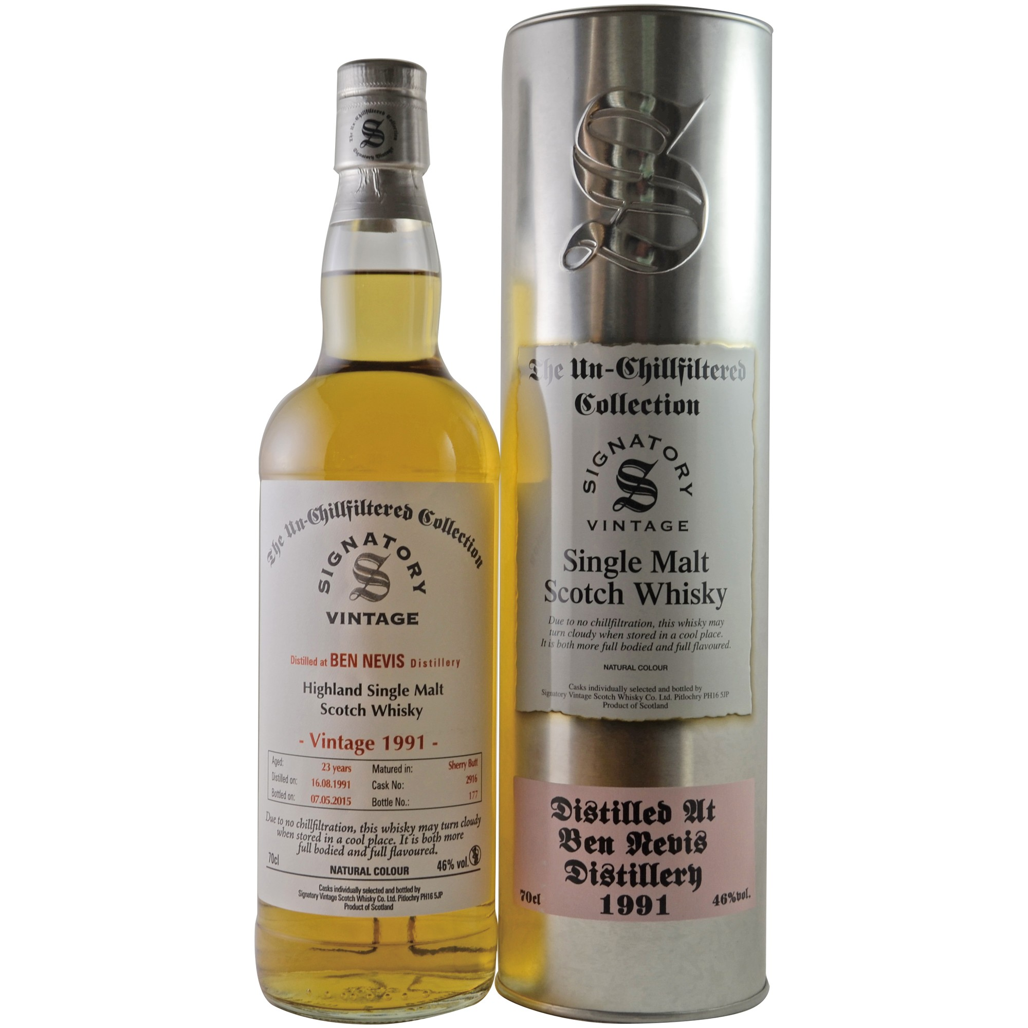 Ben Nevis 1991/2016 - (Sherry Butt) - Cask No. 3835 - (Signatory Un-Chillfiltered)