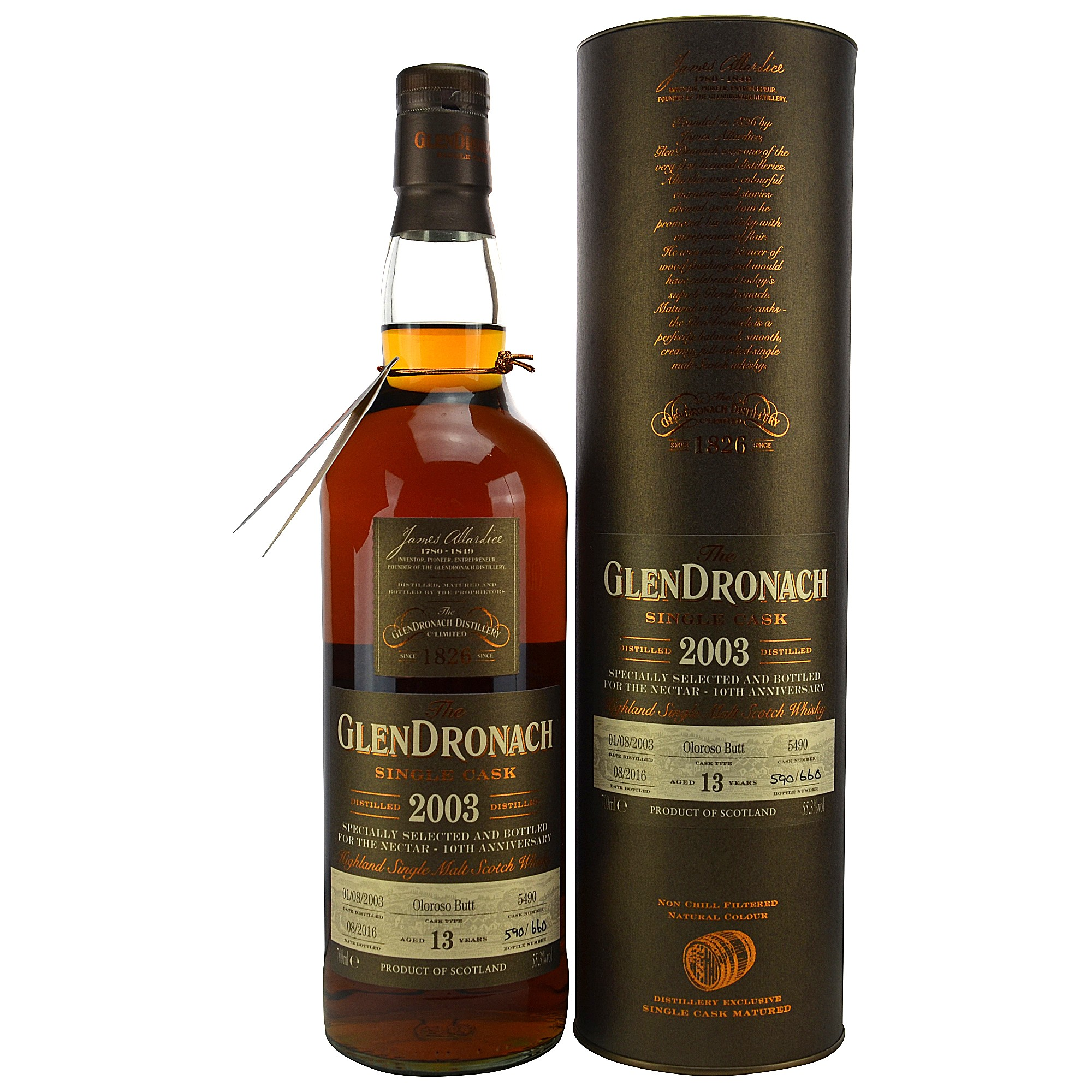Glendronach 2003/2016 13 Jahre Single Cask 5490 Oloroso Sherry Butt