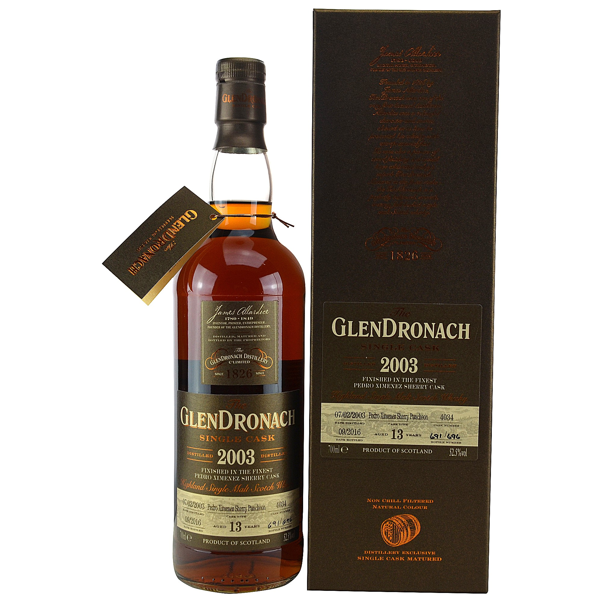 Glendronach 2003/2016 Single Cask No. 4034 PX Sherry Puncheon Batch # 14