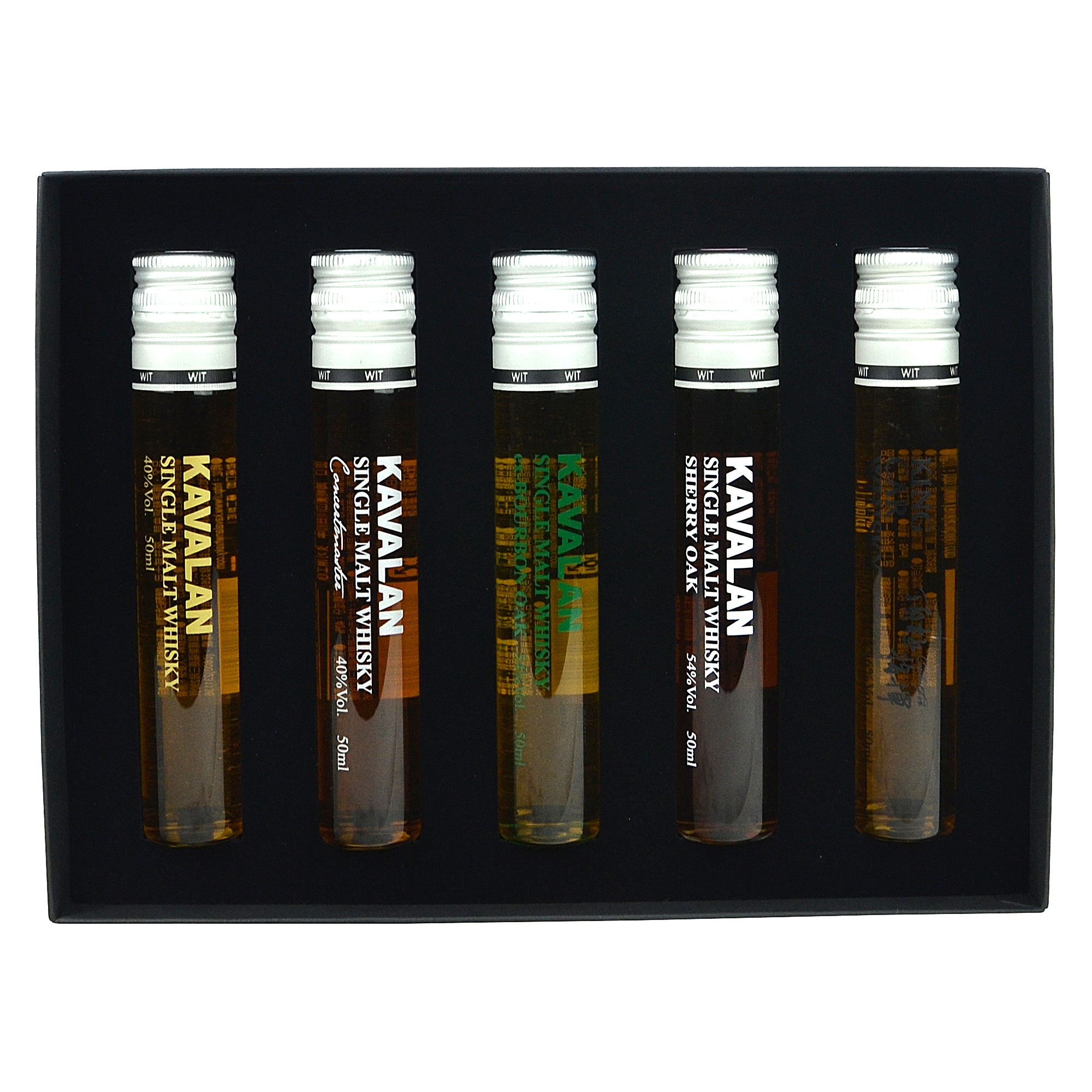Kavalan Miniaturen Set 5x5cl (Whisky in Tubes)