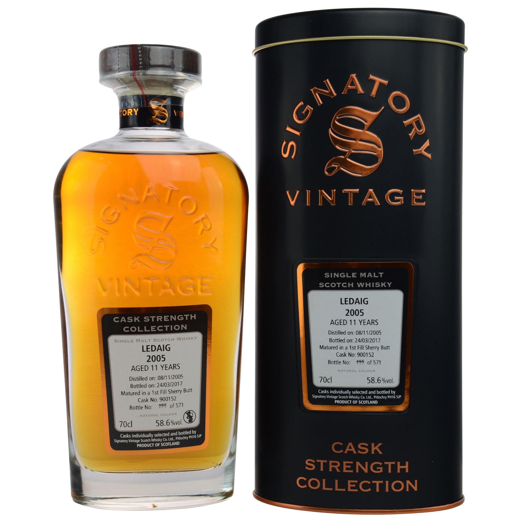 Ledaig 2005/2017 11 Jahre Cask No. 900152 - 1st Fill Sherry Butt (Signatory Cask Strength Collection)