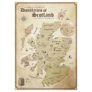 Schottland Karte - Distilleries of Scotland - (Premiumpapier)