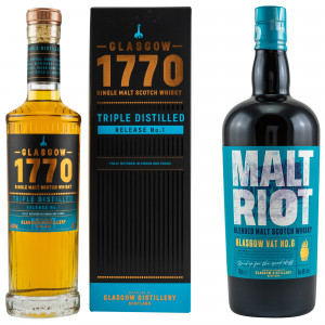 Glasgow Set 1770 Glasgow Single Malt Triple Distilled Release No. 1 & Glasgow Malt Riot Blended Malt