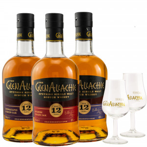 GlenAllachie Virgin Oak Series Set Chinquapin, French & Spanish Virgin Oak + 2 Gläser