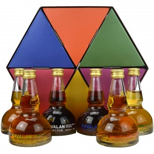 Kavalan Miniaturen Set 6x5cl in Brennblasenform