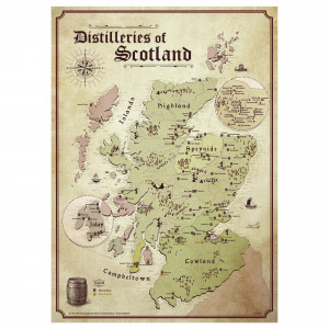 Schottland Karte - Distilleries of Scotland