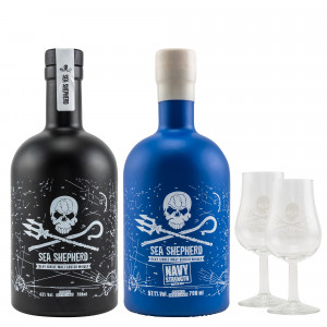 Sea Shepherd Whisky Set mit 2 Gläsern - Sea Shepherd Islay Single Malt & Sea Shepherd Navy Strength Batch No. 1